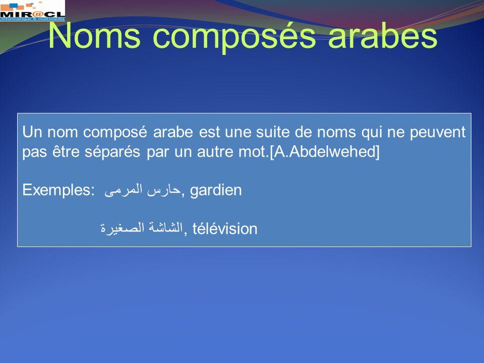 Noms composés arabes Un nom composé arabe est une suite de noms qui ne peuvent. pas être séparés par un autre mot.[A.Abdelwehed]
